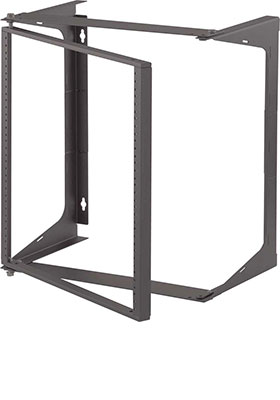 """12U Wall Mount IT Open Frame 19/"""" Network Rack with Swing Out Hinged Gate Black"""