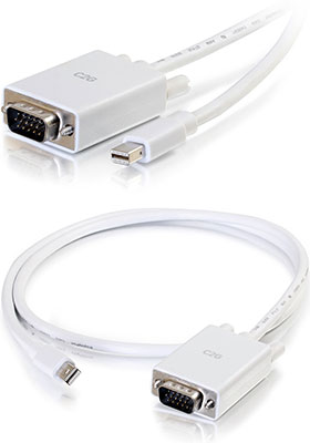 Mini-DisplayPort to VGA Active Adapter-Cable, 3 Feet, White