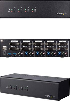 4-Port Dual-Monitor DVI KVM Switch w/ USB 3 0 Hub
