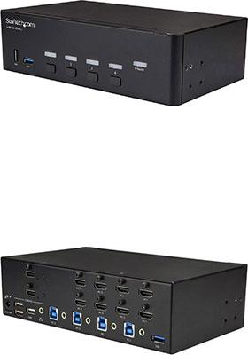 4-Port Dual-Monitor HDMI KVM Switch w/ USB 3 0 Hub